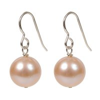 Natural colour pink pearl drop earrings