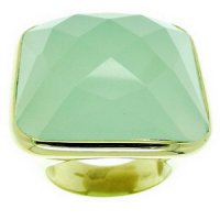 A Green Chalcedony Ring. 18K gold -750