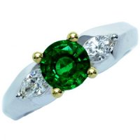 Intensly Radiant Emerald & Diamond Three Stone Ring. 18ct - 750