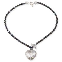 Black pearl and rock crystal heart drop necklace