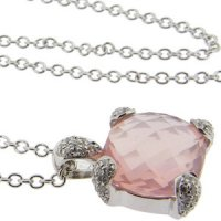 Briolette Rose Quartz and Diamond set Pendant. 18kt Gold.