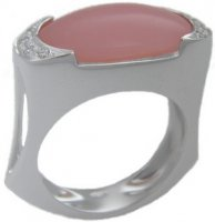 Pink opal and diamond ring