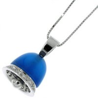 A Radiant Blue Agate and diamond Bell pendant. 18ct Gold.