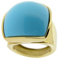 A Bold Turquoise cocktail ring. Yellow Gold. 18 carat. Eva Nueva