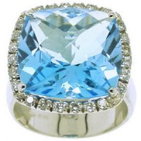 A White Gold Blue Topaz and Diamond Cluster Ring