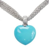 An exquisite 18ct White Gold Turquoise and Diamond Pendant.