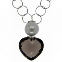 Pearl and Smokey Quartz Heart Shape Pendant - 18k White Gold
