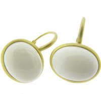 Ivory Single Stone Earrings. 18 carat Gold. An Elegant Pair