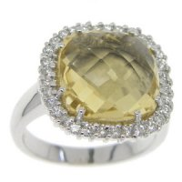 Briolette Citrine and Diamond Cluster Ring. 18ct White Gold.