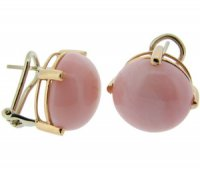 18ct Yellow Gold Pink Opal Earrings