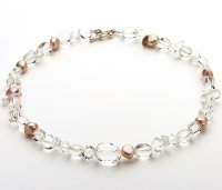 Pink Fresh water pearl and Clear Quartz Necklace
