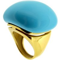 A stylish Turquoise Cocktail Ring. 18ct Yellow Gold.750