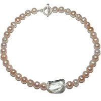 Fresh Water Pearl necklace Pink Pearls, large clear Rock Crystal