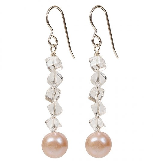 Pearl and clear quartz gemstone earrings. - Click Image to Close