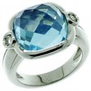 Briolette Blue Topaz and Diamond Ring - 18k White Gold