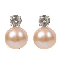 Natural colour pink pearl earrings