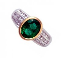 Emerald & Diamond Stylish Dress Ring. 18k Gold.