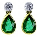 Exquiste pair of Pear Shape Emerald & Diamond Drop Earrings. 18k