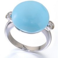 Turquoise and Diamond Ring.18ct White Gold.