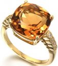 A Chic 18ct Yellow Gold Briolette Citrine and Diamond Ring.