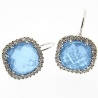 White Gold Blue Topaz Briolette and Diamond Earrings - 18ct