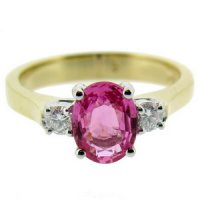 18kt Gold Oval Pink Sapphire & Diamond Three Stone Ring