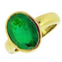Handmade Emerald Ring. A Stunning Oval Emerald solitaire Ring,