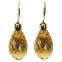 A pair of Briolette Citrine Pendant Earrings - 18ct yellow gold