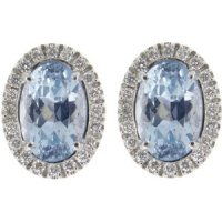 Oval 18K Gold Aquamarine Earrings set with diamonds