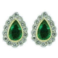 Pear Shape Emerald and Diamond Earrings. 18ct Gold.