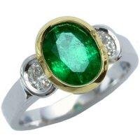 18k Contemporary Emerald and Diamond Trilogy Ring.