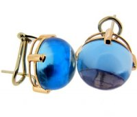 18ct Yellow Gold Blue Topaz Earrings.