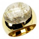 A Designer Yellow Gold Rutilated Quartz Ring.