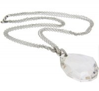 Contemporary diamond and clear faceted quartz pendant.