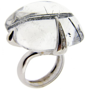 18ct white gold Tourmalated quartz ring - Click Image to Close