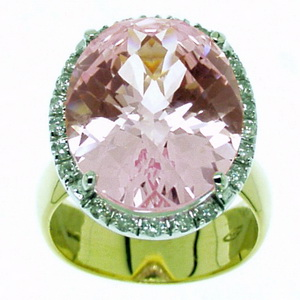 A Pink Topaz and Diamond Cluster Ring. 18k Yellow Gold. - Click Image to Close