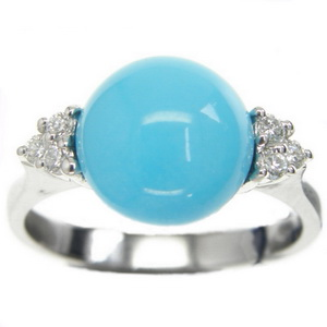 An 18K Turquoise and Diamond Dress Ring - Click Image to Close