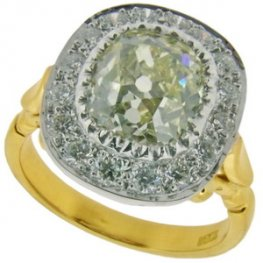 Old Cushion Cut Diamond Cluster Ring - 18ct Gold.
