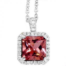 Pink Tourmaline & Diamond Pendant. (Square Cut) - White Gold