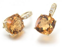 Modern Citrine Earrings. 18ct gold Citrine and Diamond Earrings.