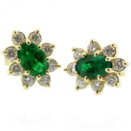 Oval Emerald Earrings set with Diamonds set in 18ct Yellow Gold.