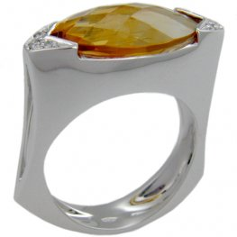 Modern Citrine Dress ring - 18ct White Gold