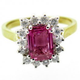 Beautiful Pink Sapphire Engagement ring with Round Diamonds