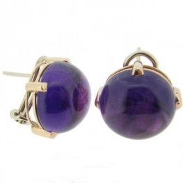 18ct Yellow Gold Cabochon Amethyst Single Stone Earrings