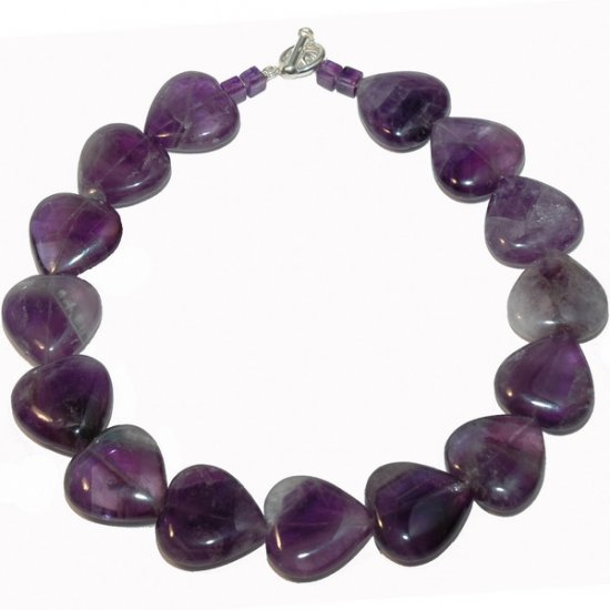 Amethyst necklace with heart amethysts