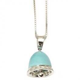 An 18k Turquoise and diamond Bell Pendant and chain (750).
