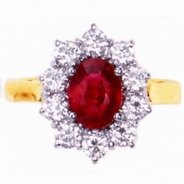 Classic ruby and diamond cluster ring. 18ct Gold.