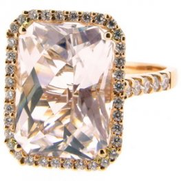 An Octagon Topaz and Diamond Dress Ring. 18ct Rose Gold.