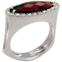 Marquise Garnet and Diamond ring