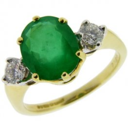18ct Gold Oval Emerald and Diamond Traditional Trilogy Ring.